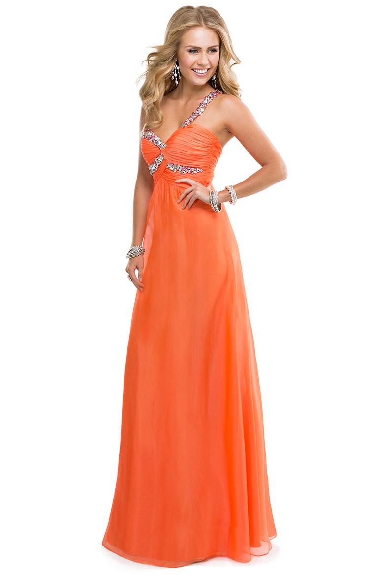 Image - Chiffon orange long prom dress.png | Austin & Ally Wiki ...
