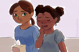 Woman with Down Syndrome Consoles Crying Girl