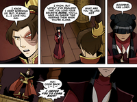 Mai confronting Fire Lord Zuko