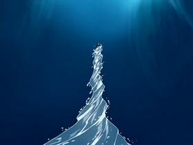 Aang conjures a water spout
