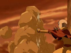 Aang creates earth wall.png