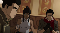 Korra at table with Mako and Bolin