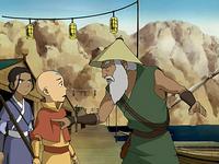 The fisherman blaming Aang