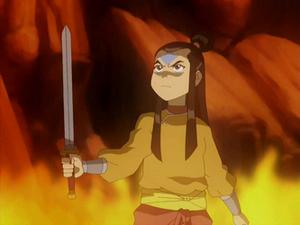 Aang holding a sword