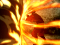 Zuko blocking a fire attack