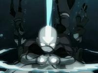 Aang creates an air pocket