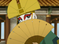 Aang in Kyoshi's attire.png