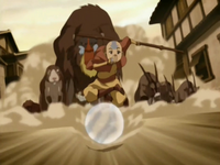 Aang guiding zoo animals