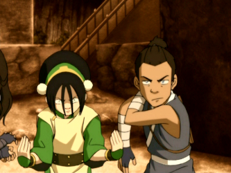 File:Toph and Sokka prepare to fight.png
