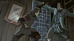 Amon fighting Tarrlok