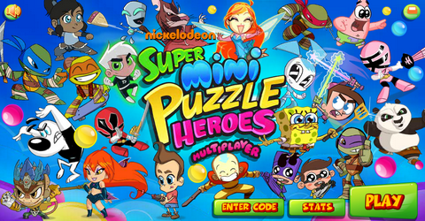 File:Super Mini Puzzle Heroes Multiplayer title screen.png