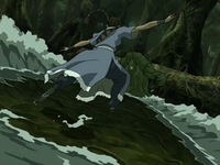 Katara fights Swamp Monster