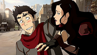 Asami helping Mako up