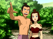 Sokka and Suki in beach clothes
