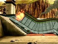 Earth Kingdom tank under attack