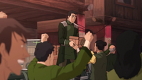 Bolin handing out supplies