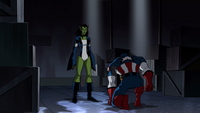 The Skrull bowing before his queen