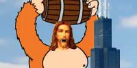 Giant Robotic Donkey Kong Jesus riding a puff of smoke