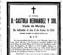 Esquela Doña Castula 4 de Mayo de 1913