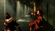 Korra and Mako fighting Unalaq.png