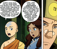 Aang and Katara talking to Kuei.png