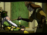 Kyoshi threatens the 46th Earth King.png