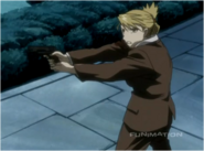 Riza Hawkeye While Repeatedly Firing at Mecha Archer