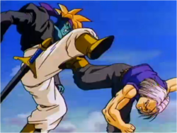 Trunks Fighting Kogu in Bojack Unbound