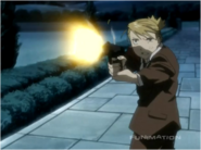 Riza Hawkeye While Shooting at Mecha Archer