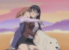 Sakaki and Chiyo hugging