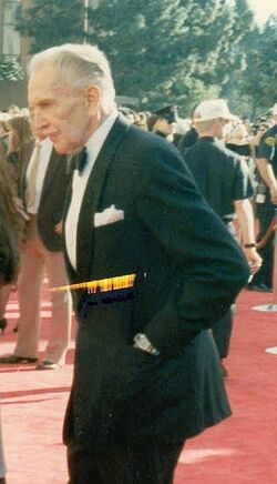 Vincent Price on the red carpet at the 1989 Academy Awards cropped