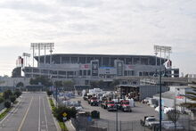 O.co Coliseum, as seen from the Coliseum BART station.