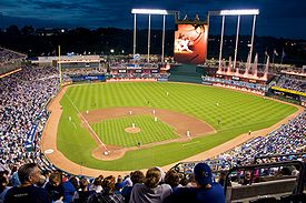 Kauffman Stadium at night, 2009