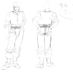 Front and back view sketches of an older Corkus for the 1997 anime.