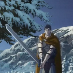 Guts prepares to duel Griffith.