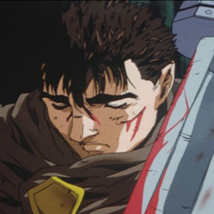 Guts falls asleep, exhausted after fighting.