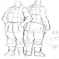 Back to back full body sketches of Pippin for the 1997 anime.