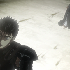 Guts stops his attack due to Casca's wellbeing.