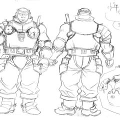 Front and back full body sketches of an older Pippin clad in armor, with illustrations of his chest plating, for the 1997 anime.