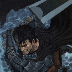 Guts, ready to swing the Dragonslayer.