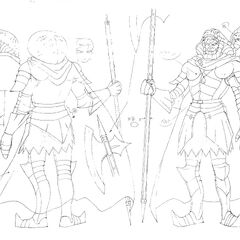 Front and back view drawings of the Snake Baron in his human form, clad in armor, for the 1997 anime.