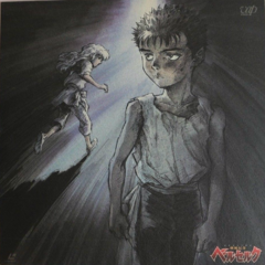 Promotional art of a young Griffith running past a young Guts for the 1997 anime.