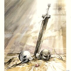 Art of Griffith and Guts' helmets, with the Crimson Behelit and Guts' sword, for the 1997 anime.