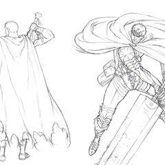 Concept art of the Dragonslayer and Black Swordsman Guts for the Golden Age film trilogy.