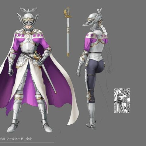 Full color concept art of Farnese in her <a href=