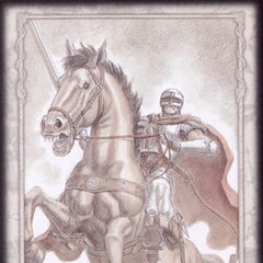Guts' horse rears back in the midst of battle, ready to charge. (Secret card 1)