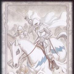 Directing his mercenaries in battle, Griffith raises his lance. (Secret card 2)