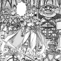 Farnese confronts Guts with her Holy Iron Chain Knights.
