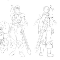 Concept sketches of Guts as a young mercenary from the front and back for the 1997 anime.