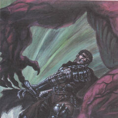 Guts swings the Dragonslayer towards an apostle.